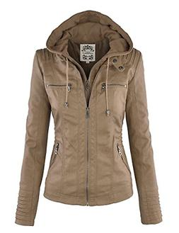 Lock and Love LL Womens Hooded Faux Leather Jacket - Beige -