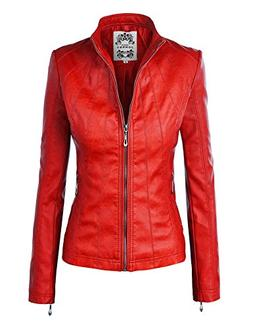 WJC877 Womens Panelled Faux Leather Moto Jacket XL RED