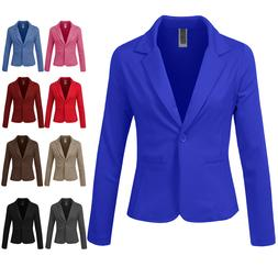 NE PEOPLE Women Basic One Button Long Sleeve Suit Blazer Off