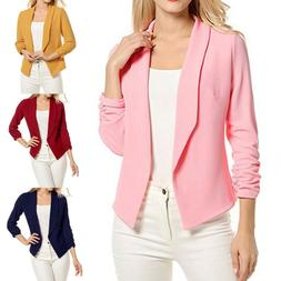 Women Blazer Open Front Coat Ladies OL Office Suit Cardigan