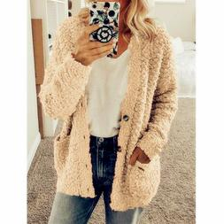 Women Chunky Knitted Cardigan Sweater Jumper Winter Warm Jac