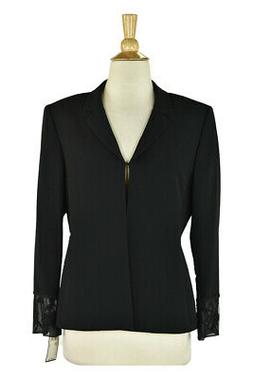 Albert Nipon Women Coats & Jackets Blazers 6 Petite Black Tr