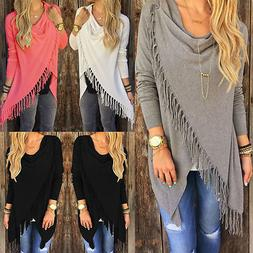 Women's Irregular Tassel Knitted Cardigan Loose Sweater Jack