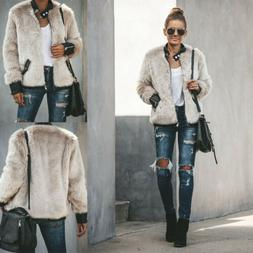 Women Elegant Warm Faux Fur Jacket Winter  Short Coat Bomber