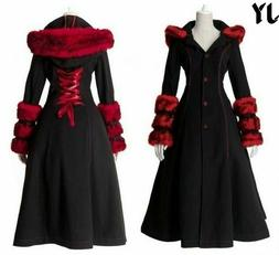 Women Fashion Hooded Fur Celtic Long Medieval Lace Up Jacket