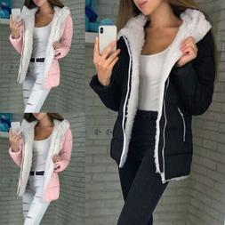 Women Fur Lined Parka Jacket Coat Ladies Winter Warm Outwear