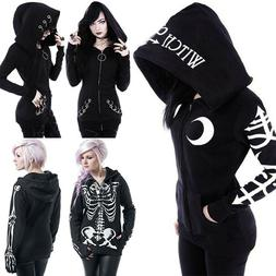 Women Gothic Punk Skeleton Skull Hoodie Hooded Jacket Coat S