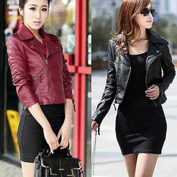Women Ladies Leather Jacket Coats Zip Up Biker Flight Casual