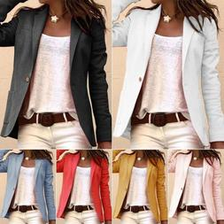 Womens Long Sleeve Slim Fit Blazer Office Work Solid Casual