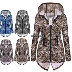 Women Leopard Print Zip Waterproof Raincoat & Polyester Park