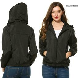 Women Lightweight Active Outdoor Solid Zip Up Hooded Bomber