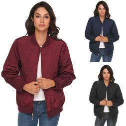 Women Lightweight Long Sleeve Zip Up Casual Quilted Bomber J