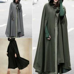 Women Long Sleeve Hoodies Hooded Long Maxi Jacket Coat Windb