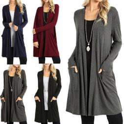 Women Long Sleeve Solid Coat Jacket Cardigan Sweater Open Fr