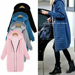 Women Long Sleeve Zip Up Hooded Hoodie Jacket Jumper Cardiga