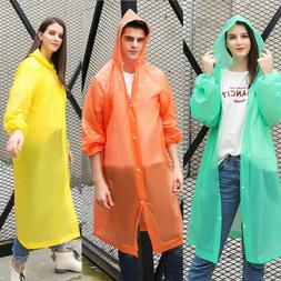 Women Men Waterproof Jacket Clear PVC Raincoat Rain Coat Hoo