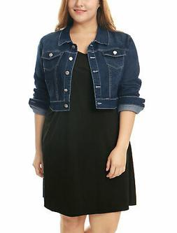 Women Plus Size Button Closed Cropped Denim Jacket