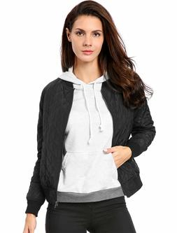 Allegra K Women Quilted Zip Up Raglan Sleeves Bomber Jacket