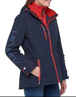 Tommy Hilfiger Women's 3-in-1 Systems Jacket Navy Large Hood