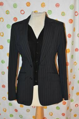 ETCETERA WOMEN`S  4 NOVEL BLACK LINED GRAY & PURPLE PINSTRIP