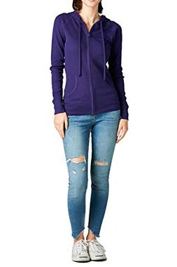 FASHION BOOMY Women's Basic Cotton Long Sleeve Zip-Up Pocket