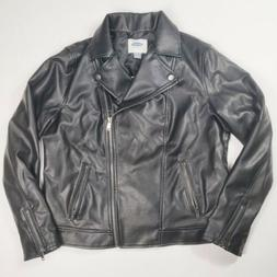 Old Navy Women's Black Faux Leather Moto Jacket Coat Zippere