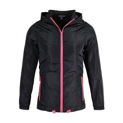 Women's Black NeonPink Windbreaker Lightweight Hoodie Rain G