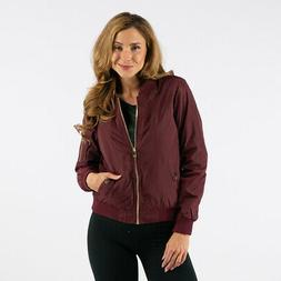 True Rock Women's Bomber Full Zip Jacket Burgundy L