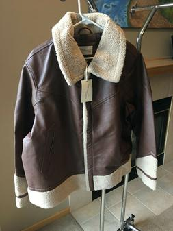 Women's Brown Faux Leather Bomber Jacket - Fall Fashion by U