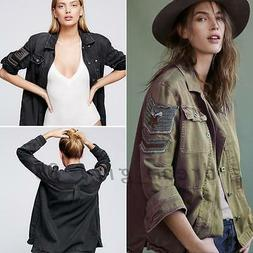 Women's Butto Up Embellished Embroidered Army Military Shirt