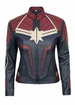 Women's Captain Marvel Brie Larson Marvel Costume Leather Ja