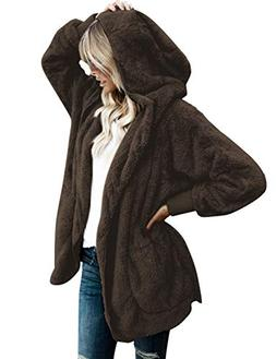 Vetinee Women's Casual Draped Open Front Hooded Cardigan Fle
