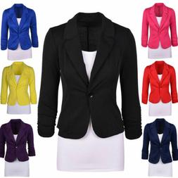 Women's Casual Work Solid Color Blazer Jacket Long Sleeve On