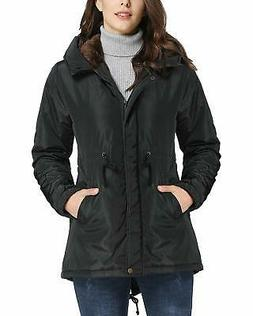 iloveSIA Women's Coat Black Size 14 Fleece Lined Hooded Draw