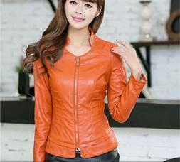 Women's coats Short Slim collar motorcycle jackets Faux Leat