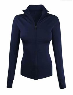 makeitmint Women's Comfy Zip Up Stretchy Work Out Track Jack