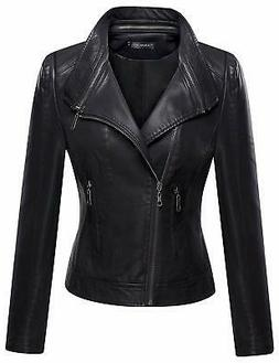 Tanming Women's Faux Leather Moto Biker Short Coat Jacket Bl