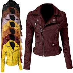 NE PEOPLE Women's Fitted Faux Leather Front Zip Up Moto Bike