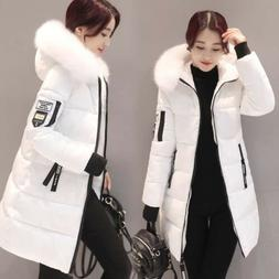 Women's Fur Collar Thicken Hooded Down Cotton Jacket Slim Lo