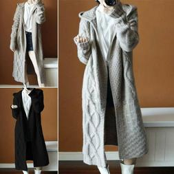 Womens Knit Hooded Long Cardigan Coat Jacket Winter Warm Jum