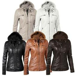 Women's Hooded Jacket Parka Coat Overcoat Pu Leather Trench