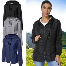 Women's Hooded Solid Wind Breaker Jacket Outdoor Waterproof
