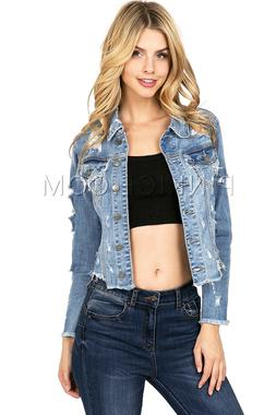Cello Women's Jean Jacket Super Destroyed Ripped Cropped Lig