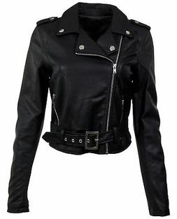 Women's Juniors Fashionable Cropped Faux Leather Moto Biker