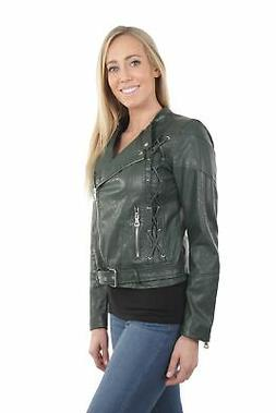 Women's Juniors Fashionable Faux Leather Moto Biker Jacket w