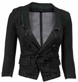 women s juniors long sleeve denim blazer