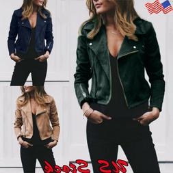 Women's Ladies Faux Leather Zip Up Jacket Biker Coat Casual