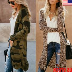 Women's Ladies Loose Long Sleeve Cardigan Leopard Kimono Top
