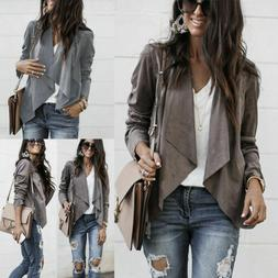 Women's Ladies Suede Jacket Flight Coat Zip Up Biker Casual