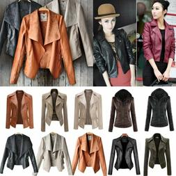 Women's Leather Jacket Motorcycle Biker Flight Zip Coat Outw